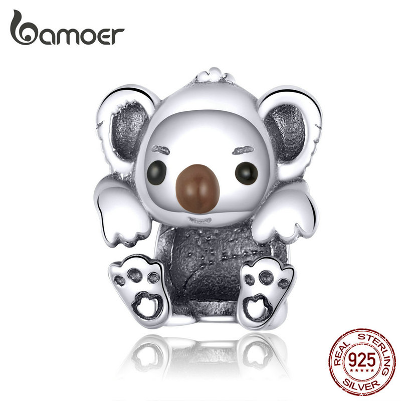 bamoer Baby Koala Metal Beads for Women Jewelry Making 925 Sterling Silver Animal Charm fit Bracelet & Bangle Jewelry SCC1304(China)