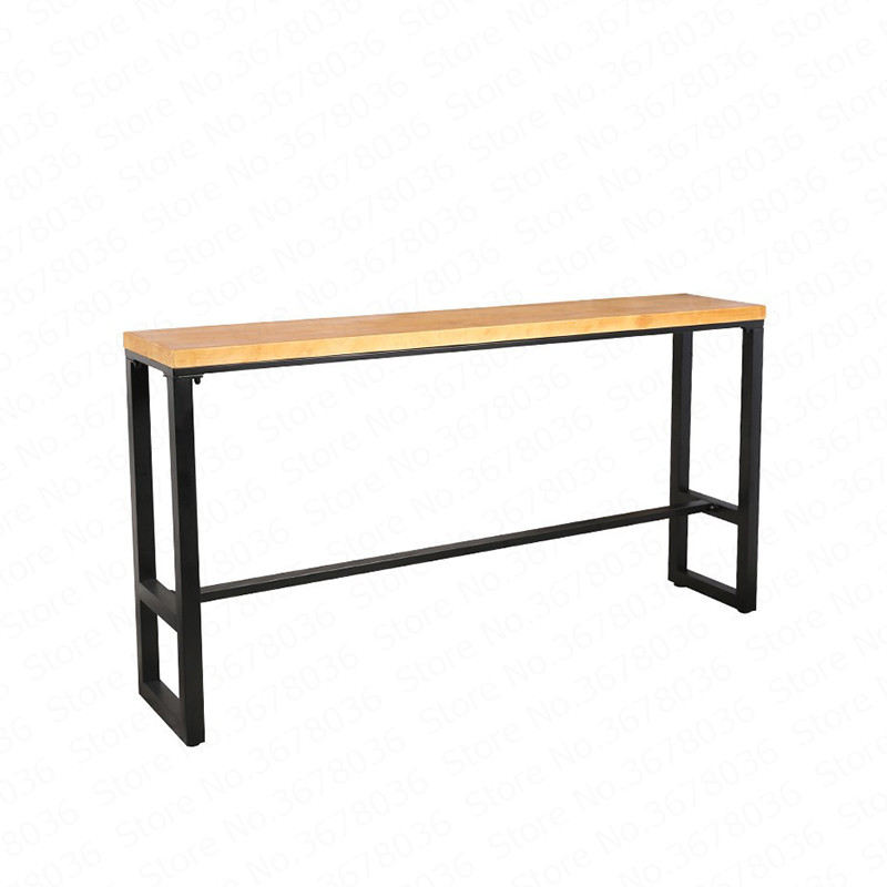 Nordic Iron Bar Table Casual Solid Wood Table And Chairs Combination Coffee Tea Shop Long Table Home Against The Wall High Table