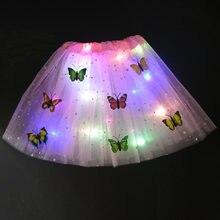 Princesa meninas led luz borboleta tutu saia neon brilho luminoso vestido extravagante usar natal natal ano novo festa de aniversário presente