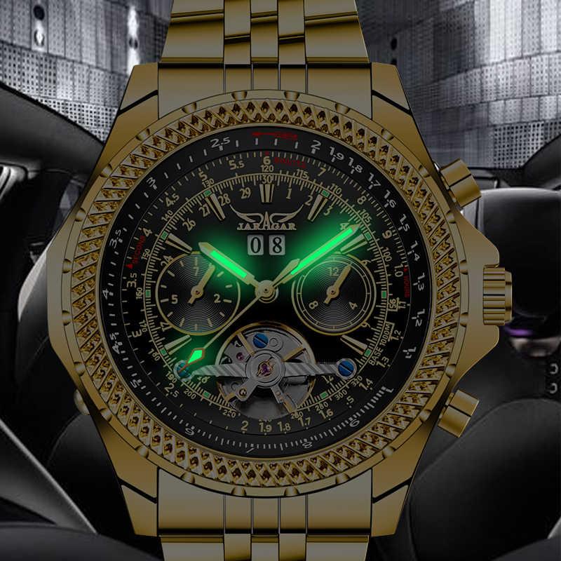 Top marque de luxe JARAGAR doré en acier inoxydable tourmilliard Design calendrier affichage hommes montres automatique mécanique montre-bracelet
