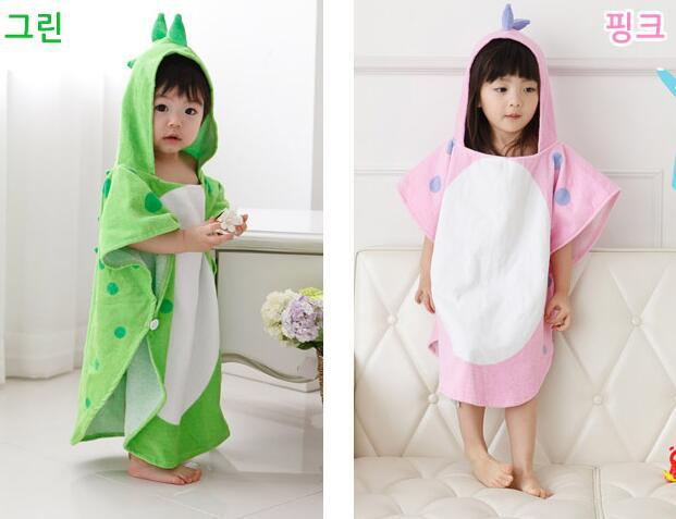 L01 Pure Cotton Hooded BABY'S Bath Towel Mantle Cloak Baby Water Absorbent Bathrobe Bath Towel For Children Bathrobe Dinosaur