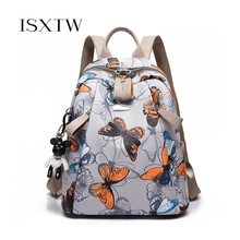 ISXTW Women Casual Oxford Cloth Backpack Fashion Butterfly Pattern Sports Bag Teenagers School Bag High capacity Backpack /C41