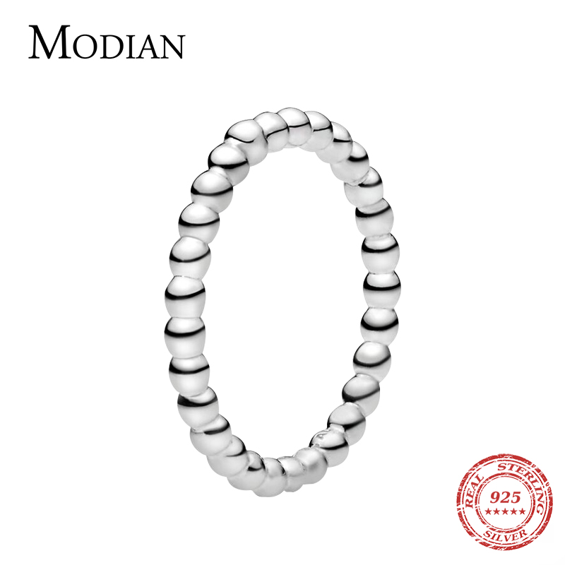 Modian Minimalist Simple <font><b>Real</b></font> <font><b>925</b></font> Sterling Silver Fashion Beads Stackable Finger <font><b>Ring</b></font> <font><b>For</b></font> <font><b>Women</b></font> Charm Wedding Fine Jewelry New image