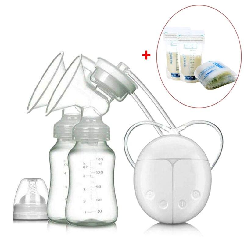 Electric Breast Pump & 30 Pcs Milk Storage Bag Feeding Breast Pumps Large Suction Breast Massage Milk Sucker Puller Milker Pump