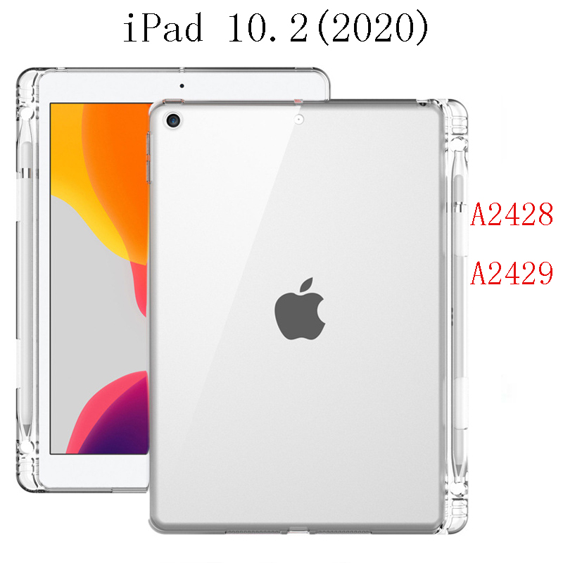 iPad 10.2 2020 White Tablet Case For iPad 10 2 2020 Case Back Silicone Tablet Cover With Pen Slot For