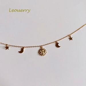 Image 2 - Leouerry 925 スターリングシルバー美しい日月スターネックレス 14 18k ゴールドメッキ鎖骨チェーンネックレス女性のためのシンプルなジュエリー