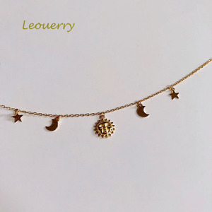 Image 2 - Leouerry collar de Luna y estrella para mujer, de Plata de Ley 925, cadena clavícula bañada en oro de 14K para mujer, joyería Simple