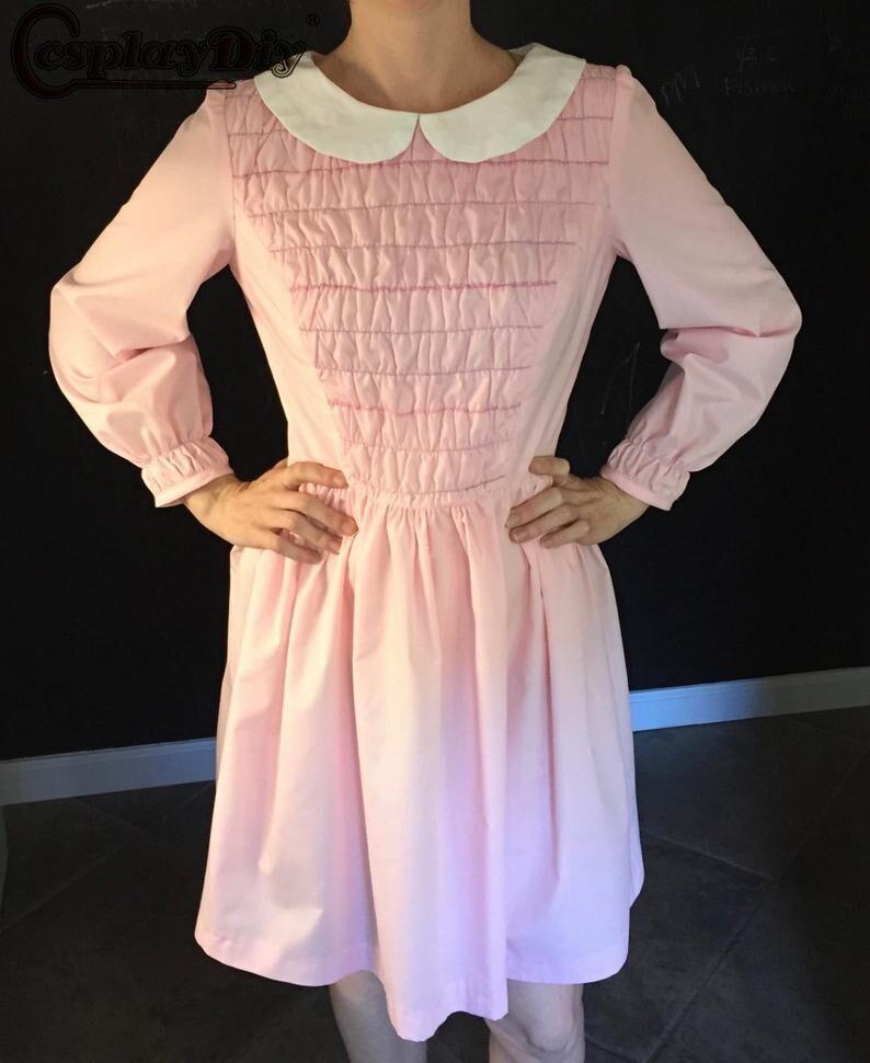 Cosplaydiy étranger choses Cosplay onze robe femmes filles rose jupe à manches longues robe Halloween Costume de fête sur mesure