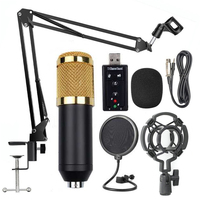 1 Set Microphone Set Practical Durable Multi functional Adjustable High Quality Microphone USB Sound Card