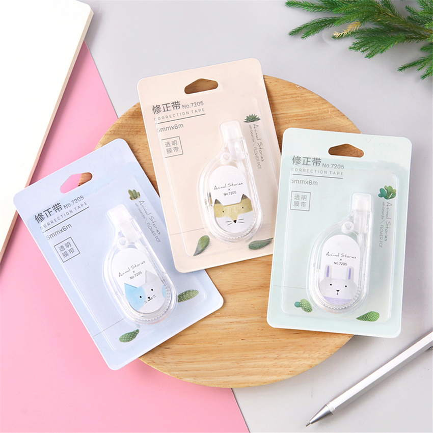 6M Simple Cartoon Transparent Case Animal Pattern Correction Tape, Office Supplies Students  Pressing-type Corrector Stationery