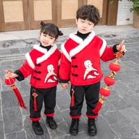 Boys and Girls Winter Tang suits China Wind Children's Costumes Thicken New Year Clothing Winter Children's Wear