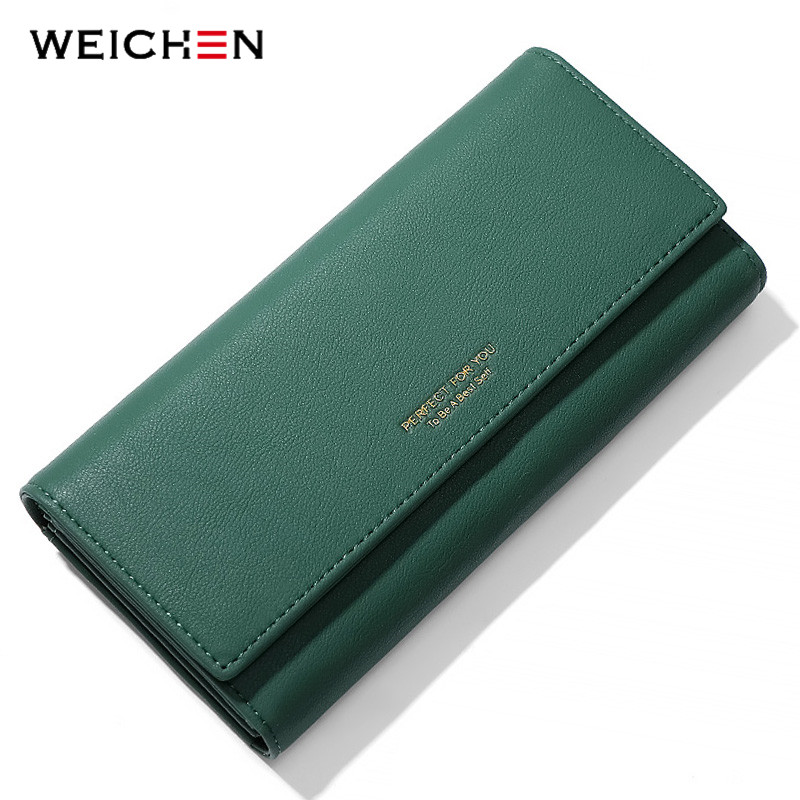 WEICHEN Trifold Women Wallet Large Capacity Long Clutch Wallets Female Purses Phone Pocket Card Holder Carteras Hand Bag Purse