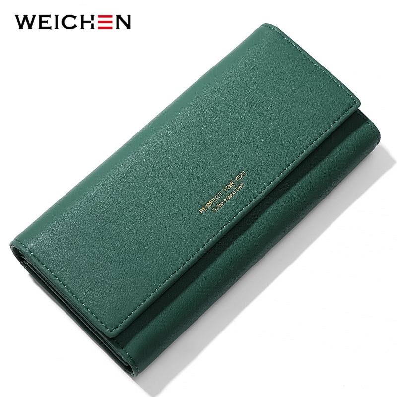 WEICHEN Trifold Women Wallet Large Capacity Long Clutch Wallets Female Purses Phone Pocket Card Holder Carteras Hand Bag Purse