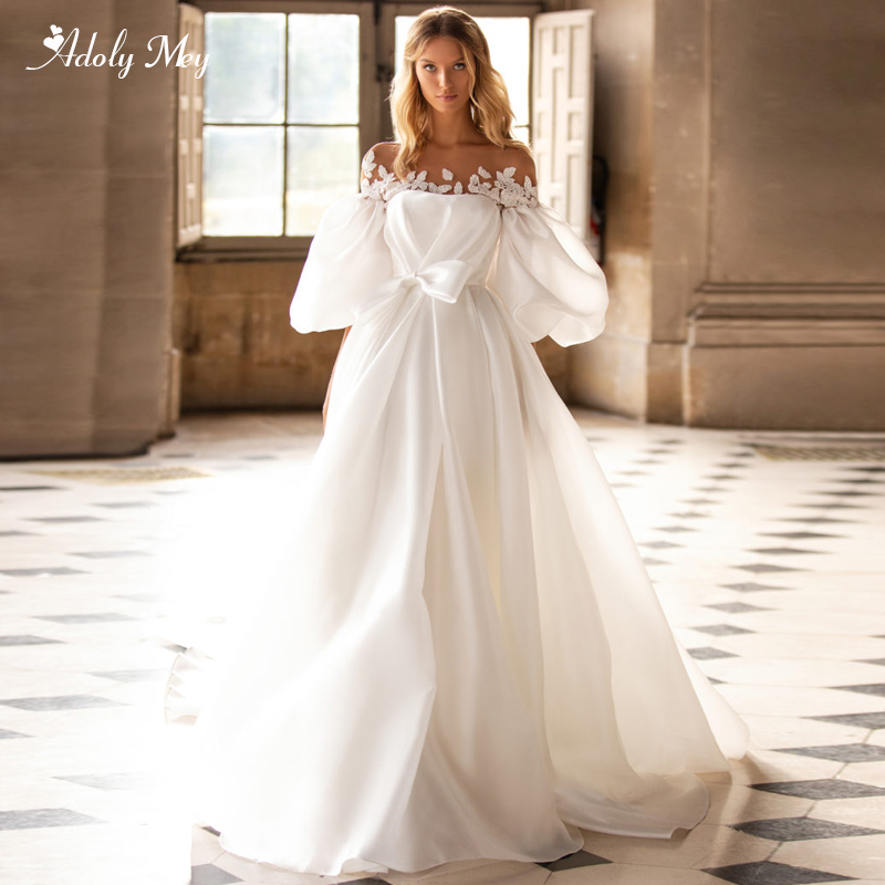 Adoly Mey Romantic Scoop Neck Lantern Sleeve A-Line Wedding Dresses 2020 Luxury Appliques Beaded Satin Court Train Bridal Gown