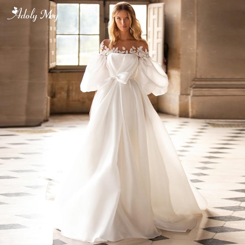 Adoly Mey Romantic Scoop Neck Lantern Sleeve A-Line Wedding Dresses 2020 Luxury Appliques Beaded Satin Court Train Bridal Gown