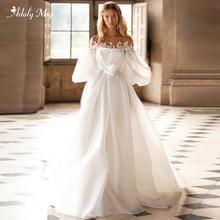 Adoly Mey robe de mariée luxueuse en Satin perlé, col rond romantique, manche lanterne, ligne a, pour Train Court, modèle 2020