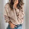 Женский ажурный свитер, однотонный пуловер из мохера, Женский винтажный свитер