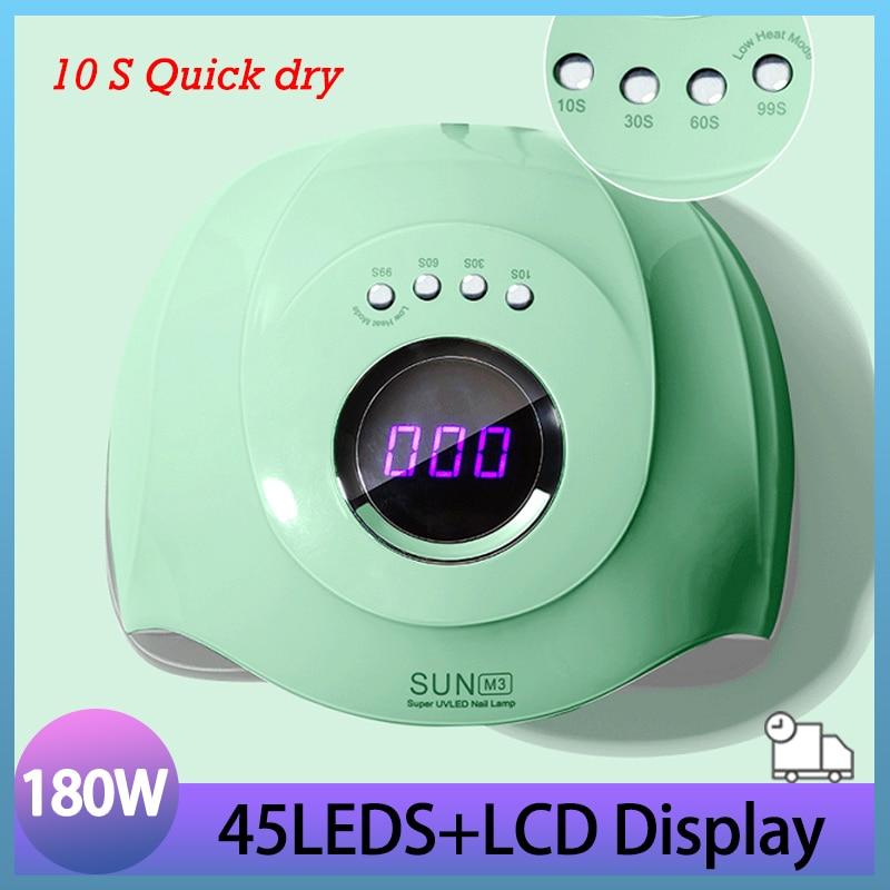 Green SUN M3 Nail Lamp Upgrade 180W 45LED UV Lamp Powerful Auto Nail Gel Dryer Lamp Professional Manicure Lamp