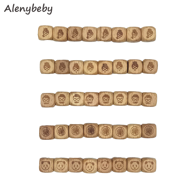 Beads Natural Teething Beech Wooden Toy Letter DIY Cube 5PC 12mm Alphabet Baby