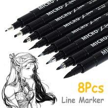 8/12Pcs Markers Pen Hand Lettering Pens Neelde Drawing Line Calligraphy Pen Waterproof Pigment Sketch For Design Art Supplie
