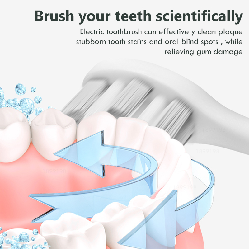 Sonic Electric Toothbrush Best 5 Modes Rechargeable USB + 4 Replacement Heads Waterproof Timer Tooth Brush Whitening for Adults 3