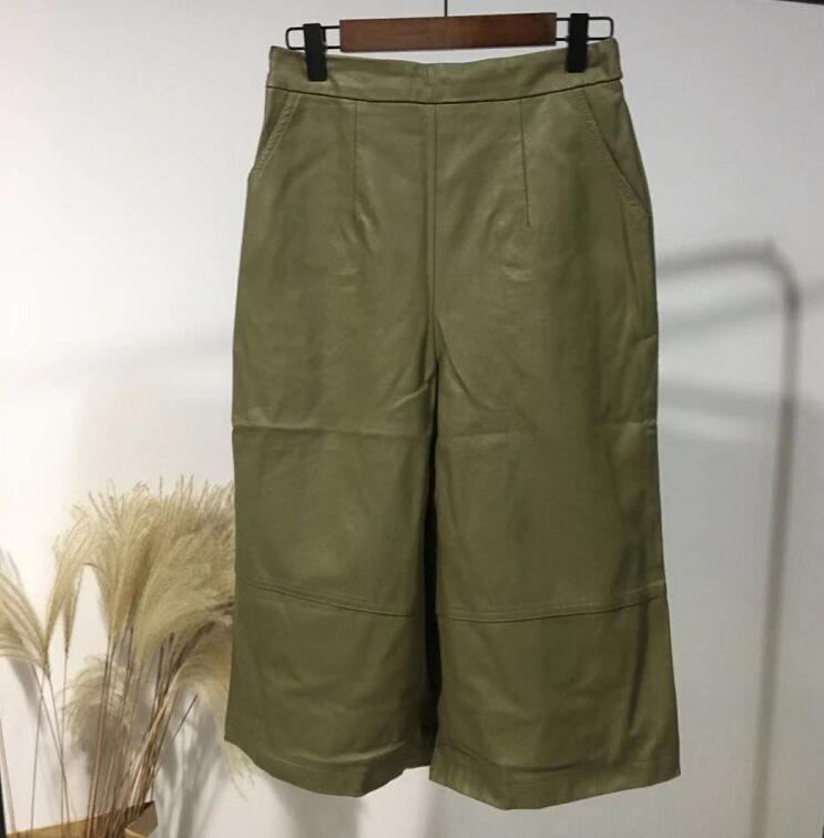 >Winter Women Green Color PU <font><b>Leather</b></font> Cropped <font><b>Pants</b></font> Wide Leg Elastic <font><b>Short</b></font> <font><b>Leather</b></font> <font><b>Pants</b></font>