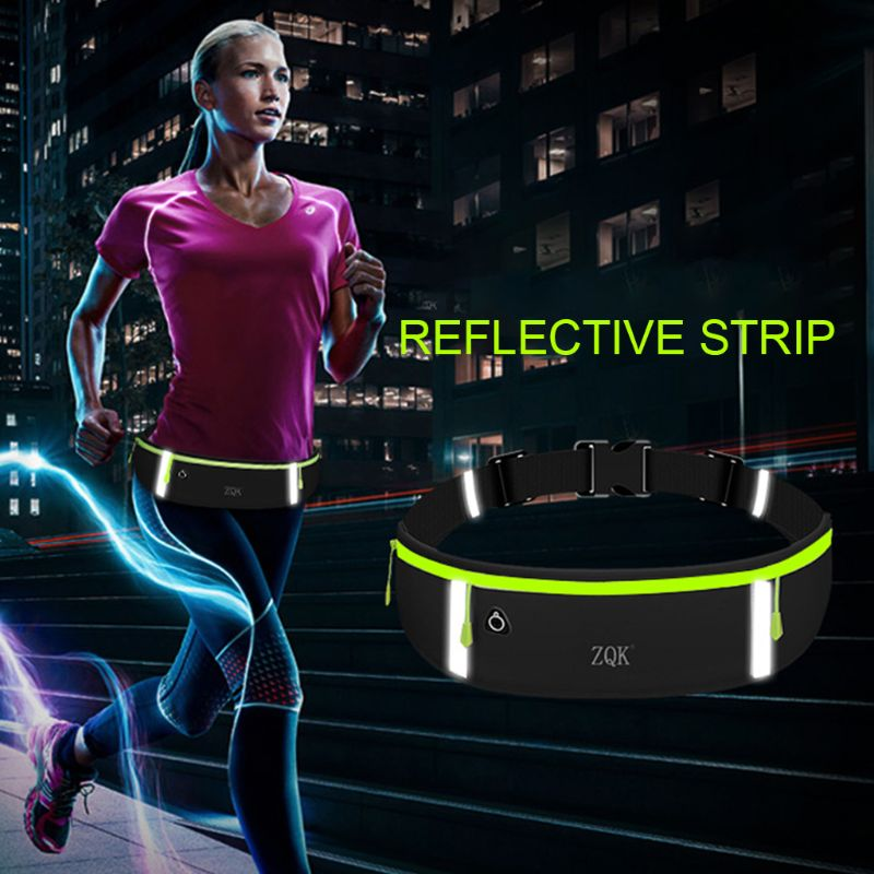 3 Pockets Running Belt Phone Pouch Waist Bag Reflective Strip Sports Travel Fanny Pack for Men Women L9BE in Waist Packs from Luggage Bags