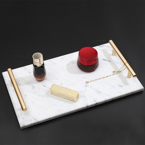 Image 3 - Nordic Style Gold Plated Handle Ceramic Marble Tray Storage Tray Storage Board Cake Dessert Plate Sushi Plate Jewelry Display Tr