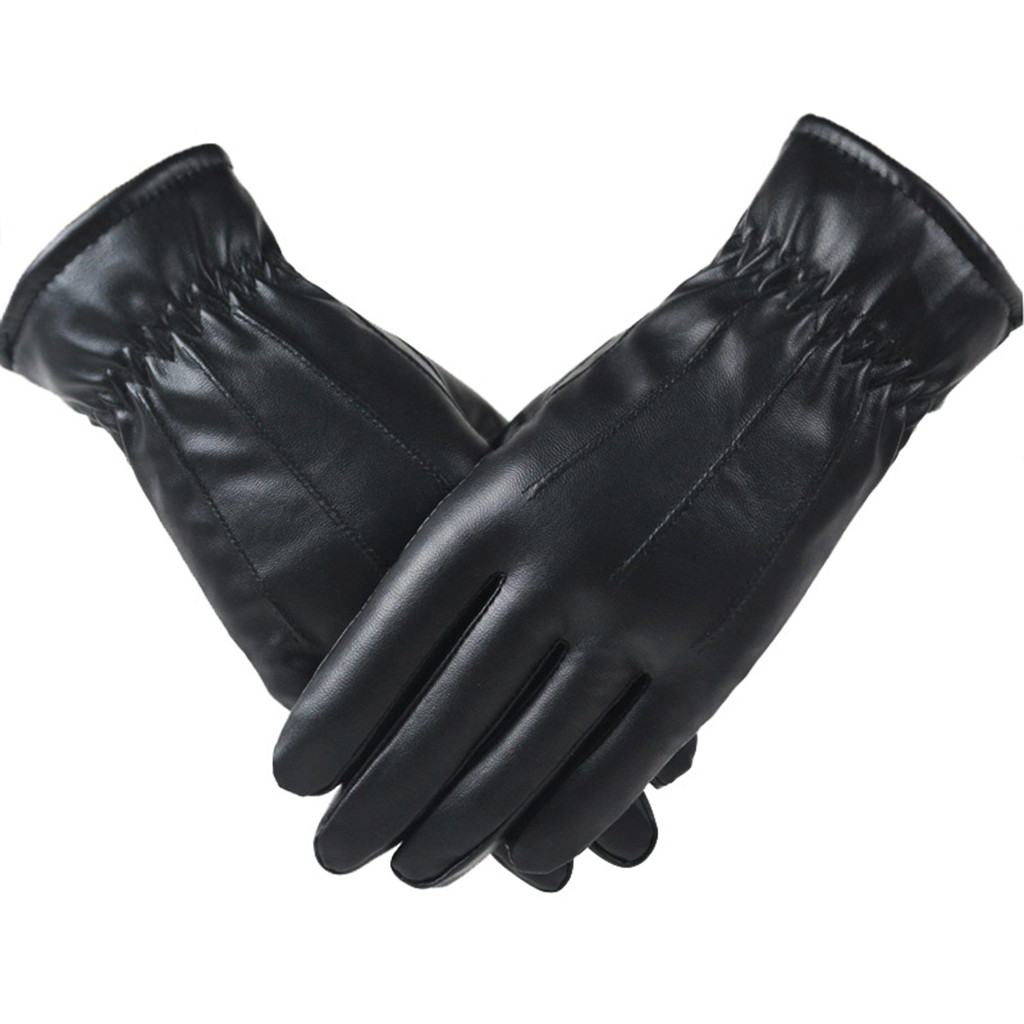 High Quality Leather Female Fashion Winter Plus Velvet Warm Black Glove Women Driving Touch Phone Screen Glove Mittens #L10