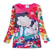 Baby Girls Tops Children's T-Shirt Long Sleeve Autumn Striped Children's T-Shirt Tops Embroidered T-Shirt Girls F4908 embroidered pullover t shirt