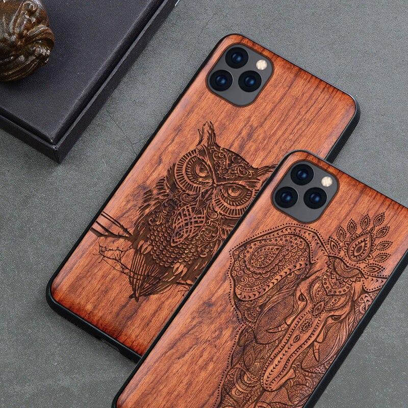 2019 Novo Para o iphone Caso 11 Magro Madeira Tampa Traseira TPU Bumper Case Para iphone 5 11 Pro iPhone 11 Pro casos de Telefone Max