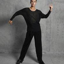 Body-Shirt Latin-Dance-Wear Semi-Transparent-Style Rumba Black Men 20606 Oversized Move-Through