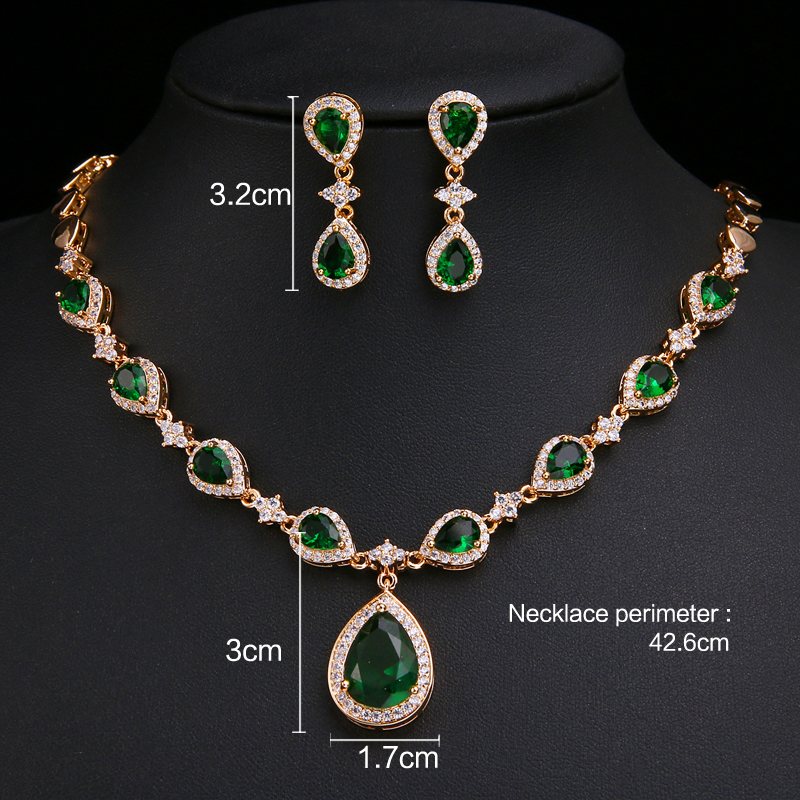 Image 5 - Emmaya New Arrival Rose Gold Green Waterdrop Appearance Zirconia Charming Costume Accessories Earrings And Necklace Jewelry SetsBridal Jewelry Sets   -