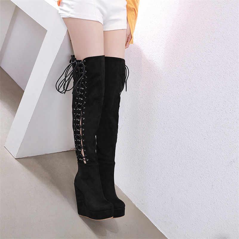 FEDONAS חם פלוק נשים צלב קשור מעל הברך גבוהה מגפיים סקסי רוכסן רכיבה מגפי מסיבת לילה מועדון נעלי אישה שמנמן עקבים