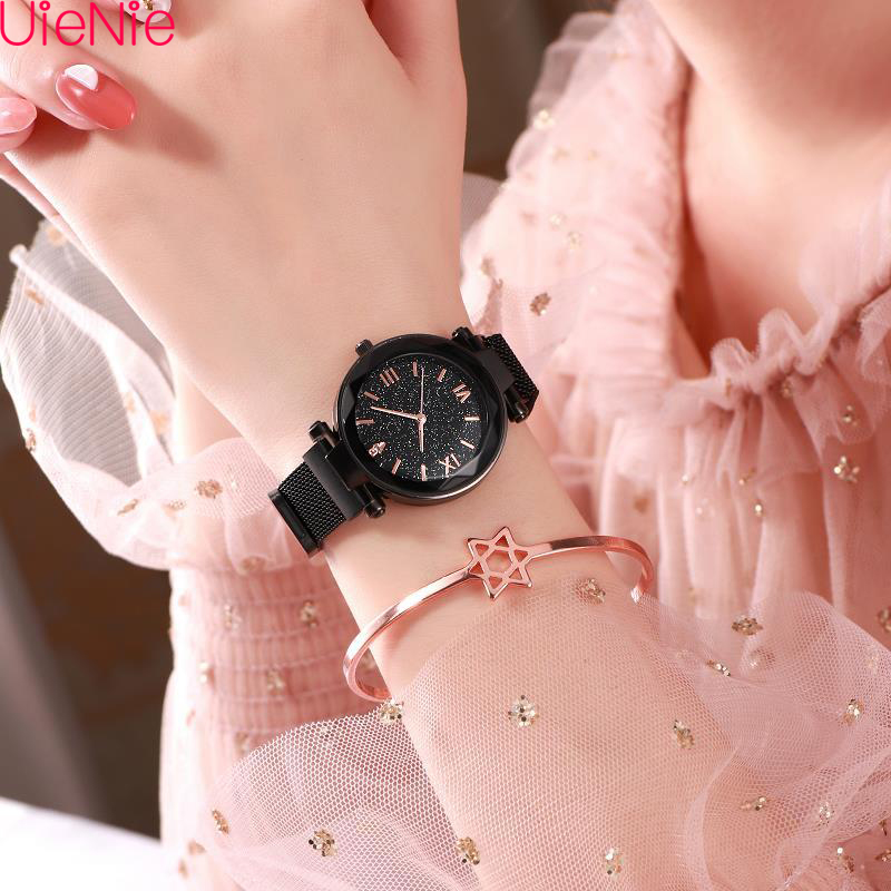 Women Watch Simple Starry Sky Numeral Milan Magnet Buckle Luxury Fashion Wild Ladies Geometric Roman Numeral Quartz Watch