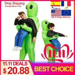 Надувные костюм монстра Страшно Зеленый чужой Косплэй костюм для взрослых женщина Хэллоуин вечерние сцене фестиваля Палочки Me Up