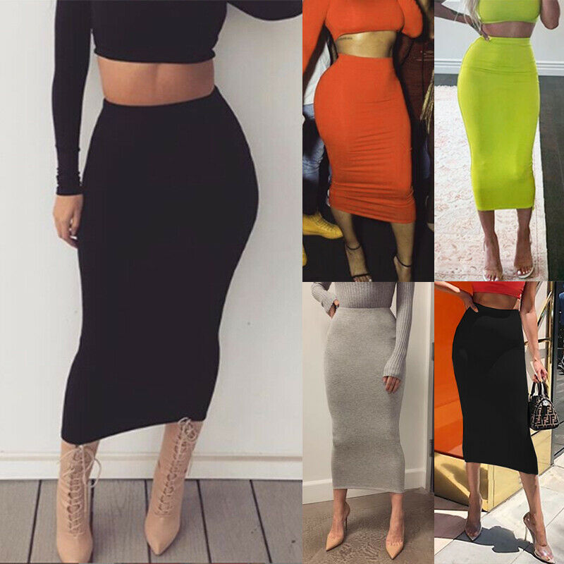 New Stretch Pencil Skirt Women High Waist Below Knee Midi Fitted Summer Fashion Casual Sexy Solid Lady Vocation Mid-Calf Skirt