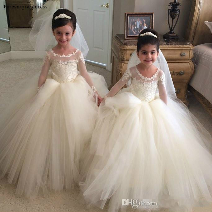 2019 Cheap Lovely Cute Sheer Jewel Neck Long Sleeves Lace   Flower     Girl     Dresses   Daughter Toddler Pretty Kids Pageant Gowns