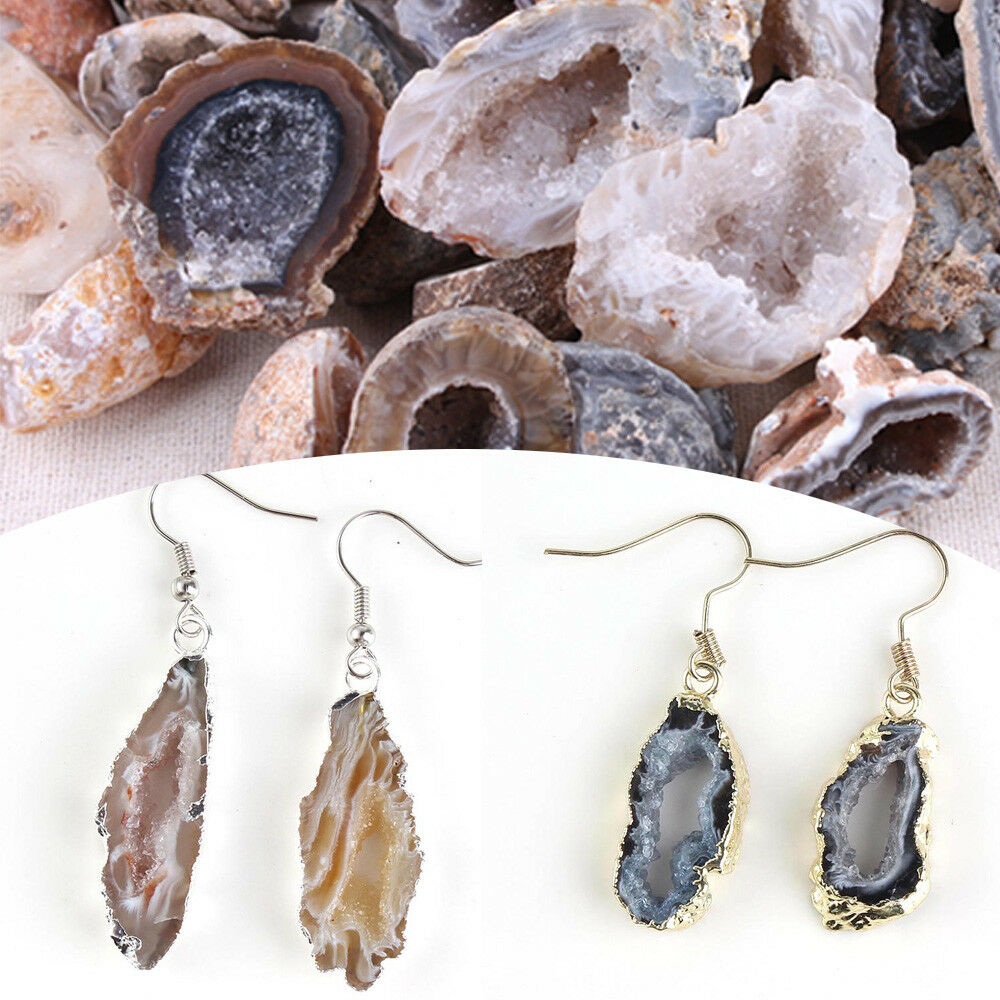1Pc Natural Agate Geode Craft Collection Minerals Healing Crystals Stones beads Halves for Diy Pendant Women Jewelry Making