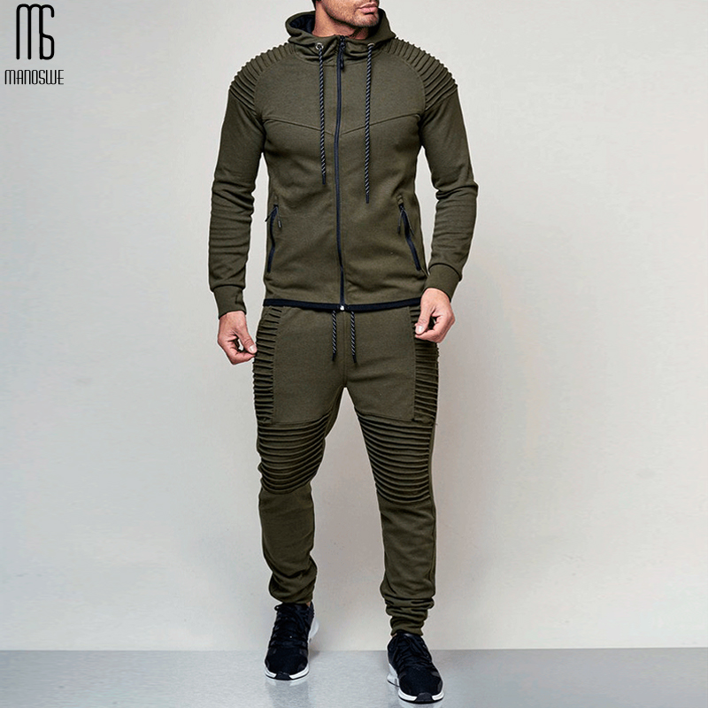 Manoswe Men's Outdoor Sports Solid Color Hoodie Sweatshirt Pant Suit Spring & Autumn Hoodies Zipper Casual Cardigan Over Size