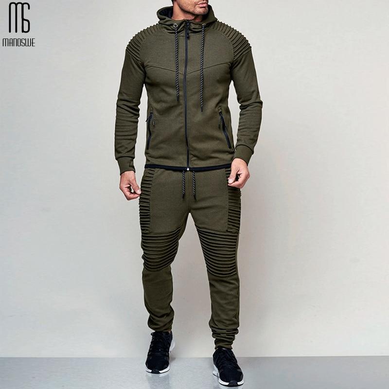 Manoswe Men's Outdoor Sports Solid Color Hoodie Sweatshirt Pant Suit Spring & Autumn Hoodies Zipper Casual Cardigan Over Size