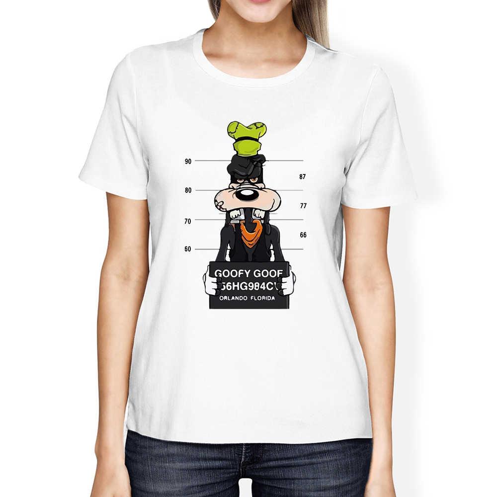 Mickey stampa tees Pippo t-shirt donna top hip hop casual divertente cane del mouse del fumetto della maglietta homme amanti t-shirt