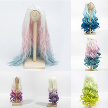 BJD Doll Wigs Heat Resistant Wire Long Curly Hair Wigs for 1/3 1/4 BJD/SD Dolls White Blue Green Purple  Doll Wigs doll wigs hair heat resistant synthetic wire long afro curly white pink green blue ombre color wigs for 1 3 1 4 1 6 bjd sd dolls