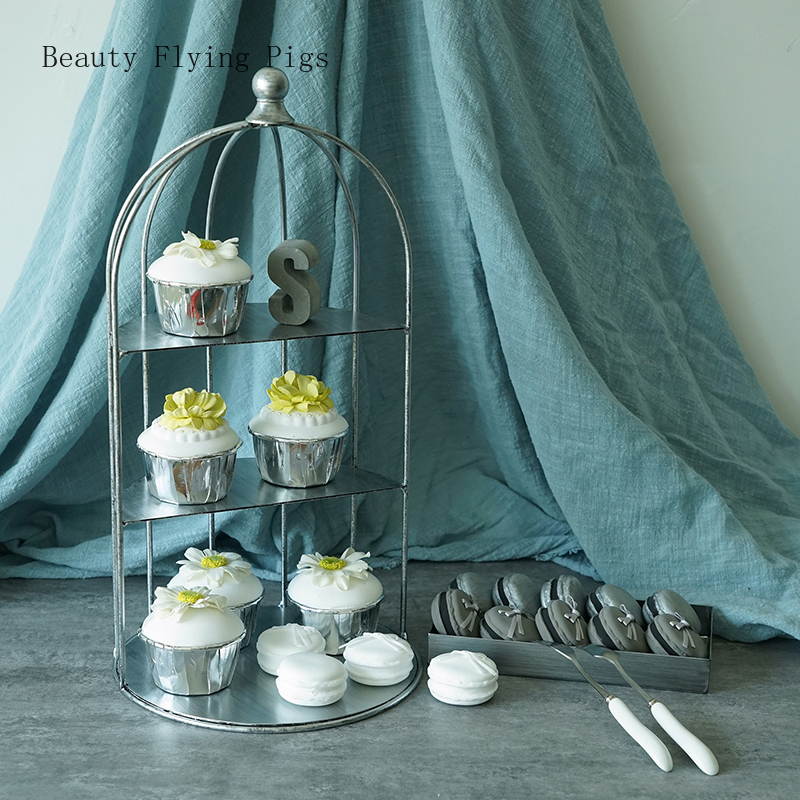 Direct court style ancien gâteau cadre argent rétro oiseau cage décoration dessert table décoration mariage gâteau présentoir