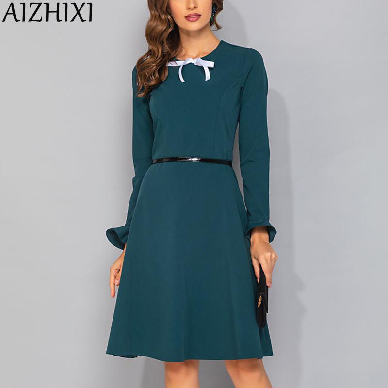 AIZHIXI Ladies Elegant Ribbon Bow A-Line Autumn Dress Flare Sleeve Slim Women Dresses Female Round Neck Long Sleeve Office Wear