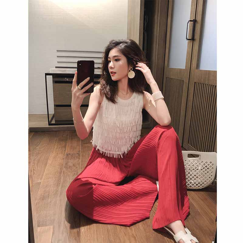Summer 2019 New Style Western Style WOMEN'S Suit Tassels Chiffon Camisole Drape Pleated Loose Pants Two-Piece Set