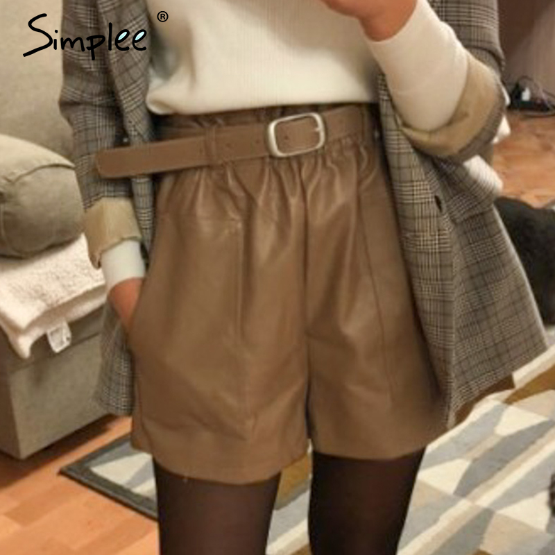 Simplee Vintage Elastic High Waist Loose Pu Leather Shorts Women Elegant Sashes Belt Wide Leg Short Ladies Spring Summer Shorts