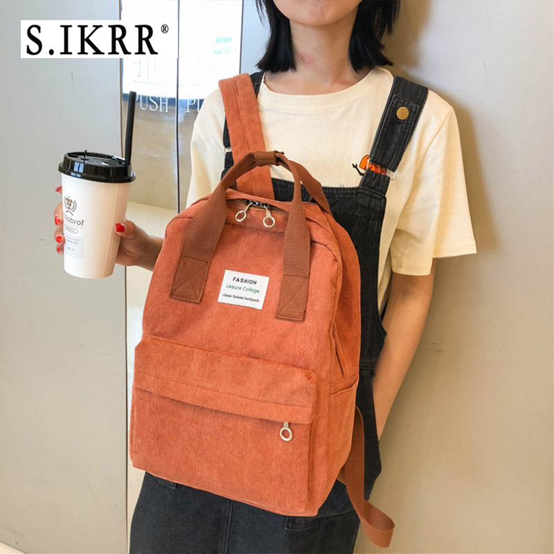 S.IKRR Fashion Corduroy Women Backpack Casual Large Capacity School Bag For College Girls Female Daily Travel Shoulder Bookbag