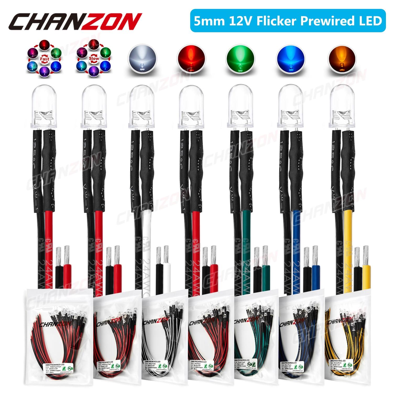20 pces 5mm prewired diodo emissor de luz led dc 12v piscando branco vermelho verde azul amarelo rgb piscando pré prendido cabo lâmpada