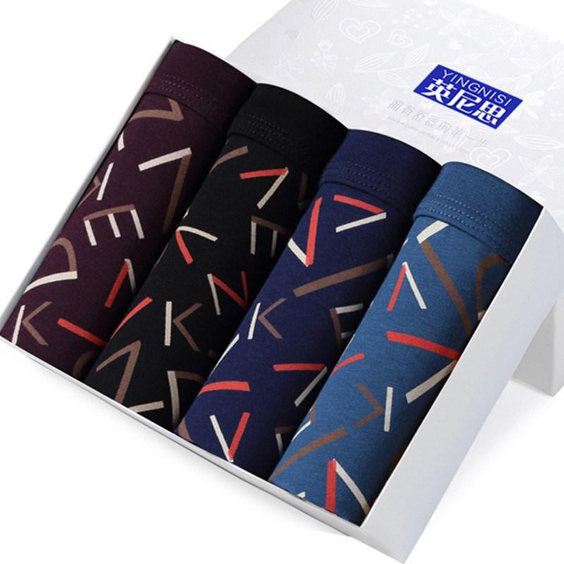 4 Pcs/lot Male Boxer Underwear Men Cotton Man Boxershort Breathable Solid Flexible Shorts Boxers Underpants Mens Panties